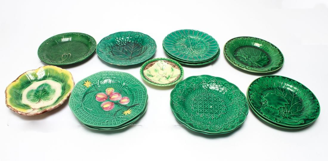 Wedgwood Majolica Cabbage Leaf Plates & Others, 15