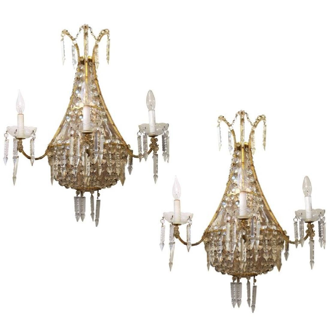 French Empire Manner Crystal Wall Sconces, Pair