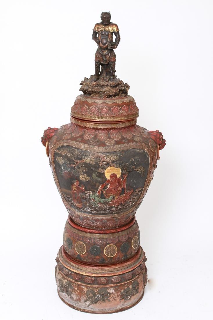 Japanese Meiji Period Polychrome Monumental Temple Urn