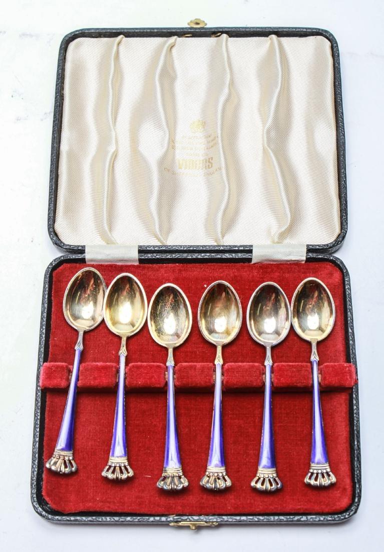 Danish Silver Enamel Demitasse Spoons Box Set of 6