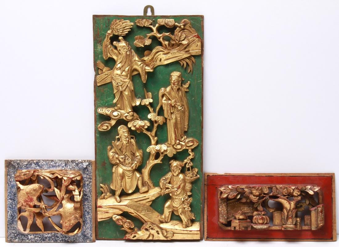 Chinese Carved & Gilt Wood Panels, 3