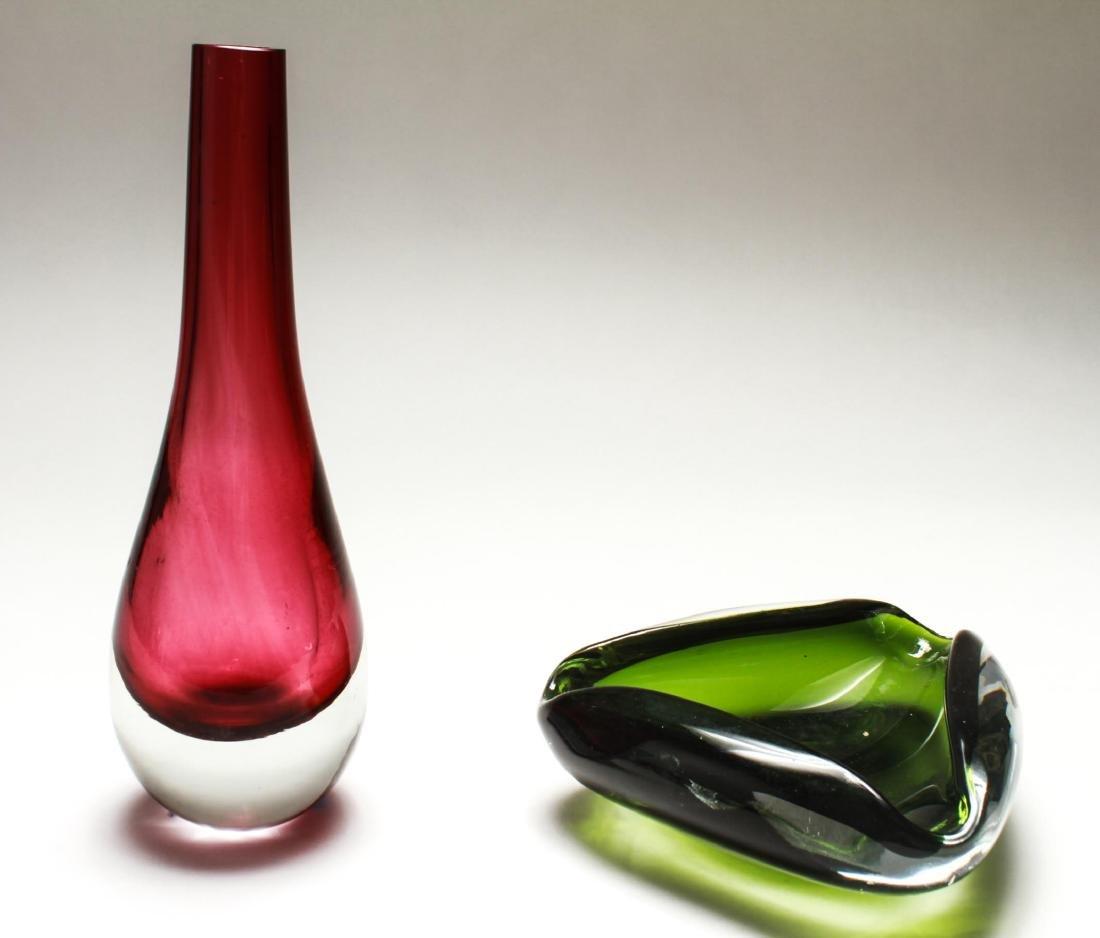 Italian Venetian Murano Sommerso Glass Bowl & Vase