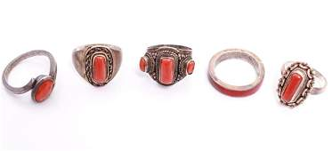 South Western Navajo Silver  Red Coral Rings 5