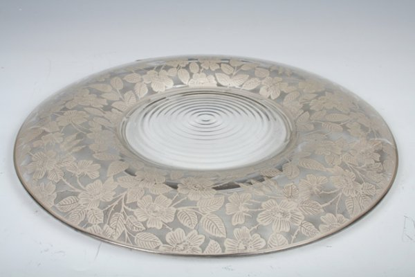 4: American Glass Charger & Silver Inlay c1930s