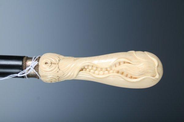 18: Ebony Art Nouveau Cane with Carved Sweet Corn