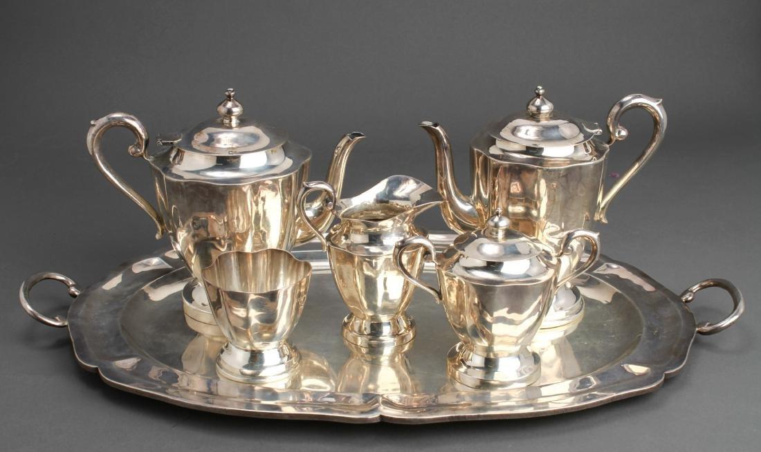Taxco Mexican Silver Tea Service & Tray Set of 6