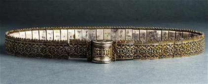 Possibly Russian Silver  Niello Belt Early 19th C