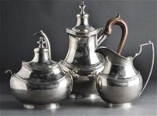 Portuguese Sarmento Lisboa Silver Tea Svc 3 Pcs