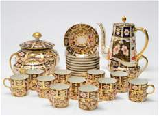 """Royal Crown Derby Tiffany """"Imari"""" Coffee Svc 26 Pc"""