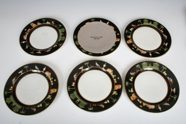 1001: Set Tiffany Handpainted Porcelain Dessert Plates