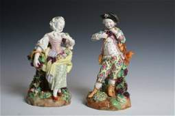 1002 Late 19th C Pair of Meissen Porcelain Figures