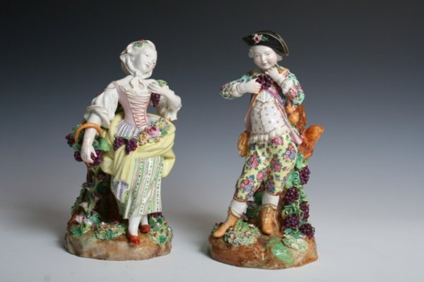 1002: Late 19th C Pair of Meissen Porcelain Figures