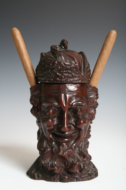1015: 19th C. German Satirical Humidor of a Rabbi