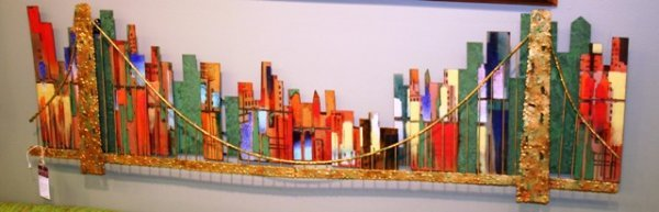 1024: 1966 Jere City Scape Wall Sculpture, signed