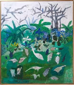 "Arnold Blanch ""Forest w Birds"" Acrylic on Canvas"