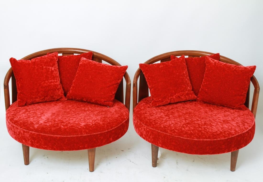 Adrian Pearsall Manner Barrel Lounge Chairs, Pair