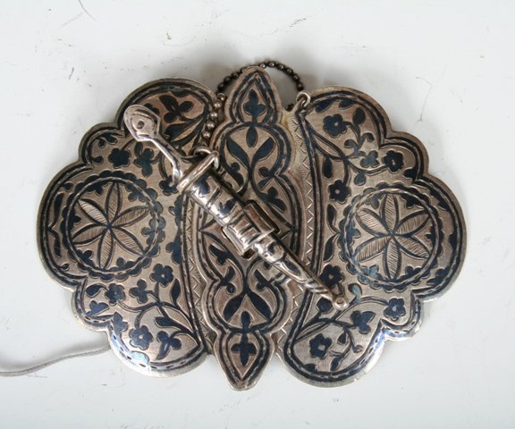 14: Russian Silver Niello Belt Buckle