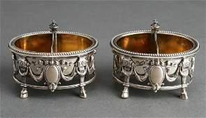 Touron French Silver Divided Open Salts Pair