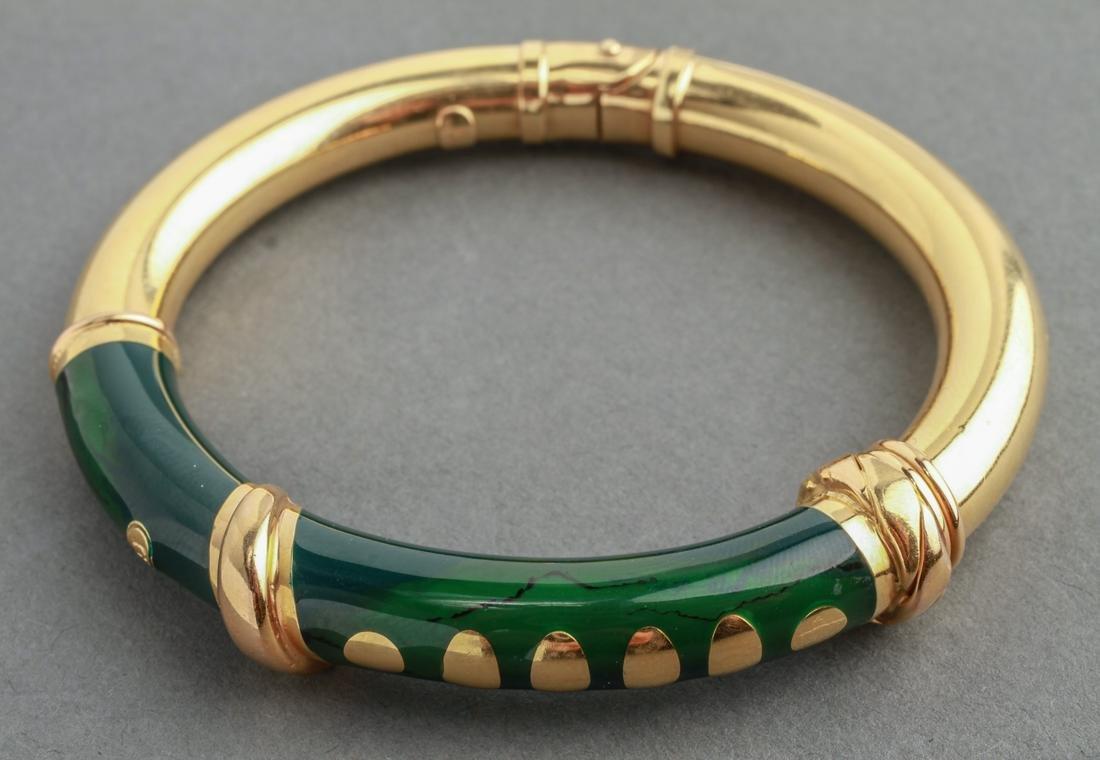 Italian 18K Yellow Gold & Enamel Bangle Bracelet