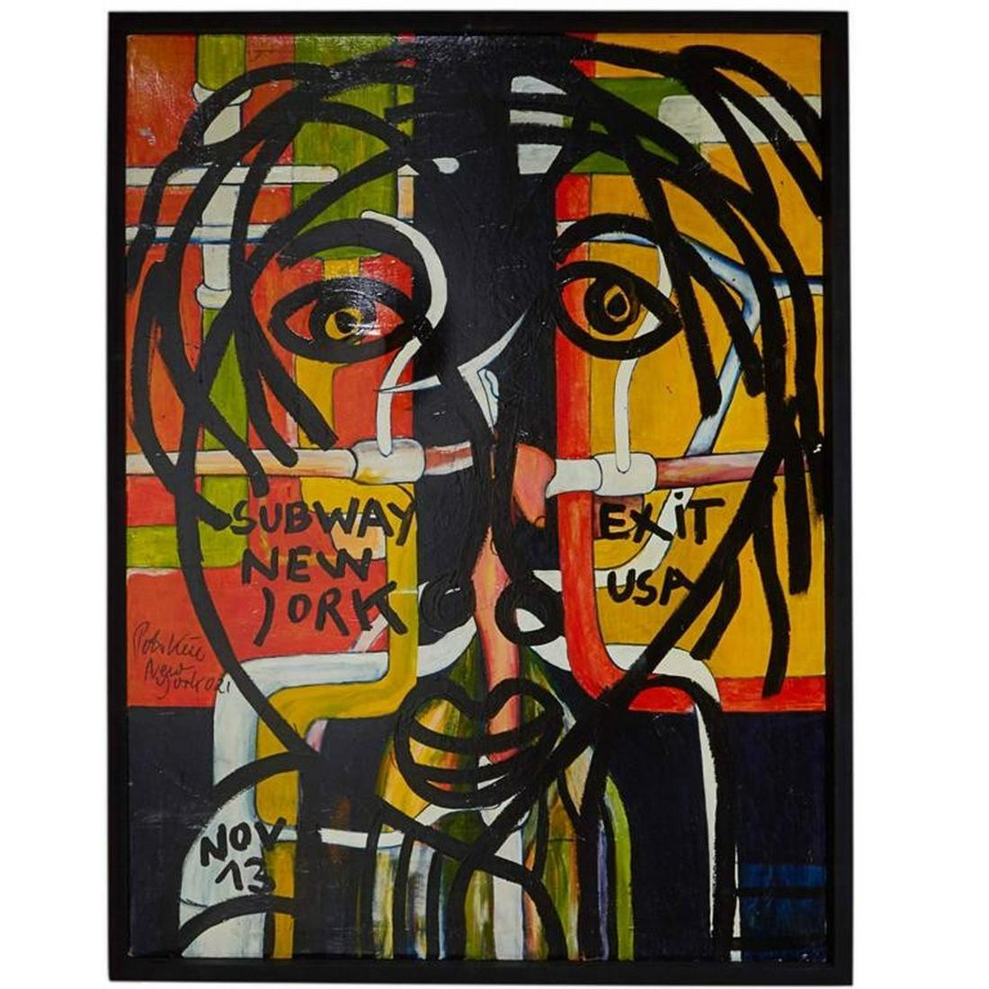 "Peter Robert Keil ""Subway Exit"" Oil on Canvas"