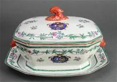 Chinese Export Porcelain Armorial Tureen & Platter