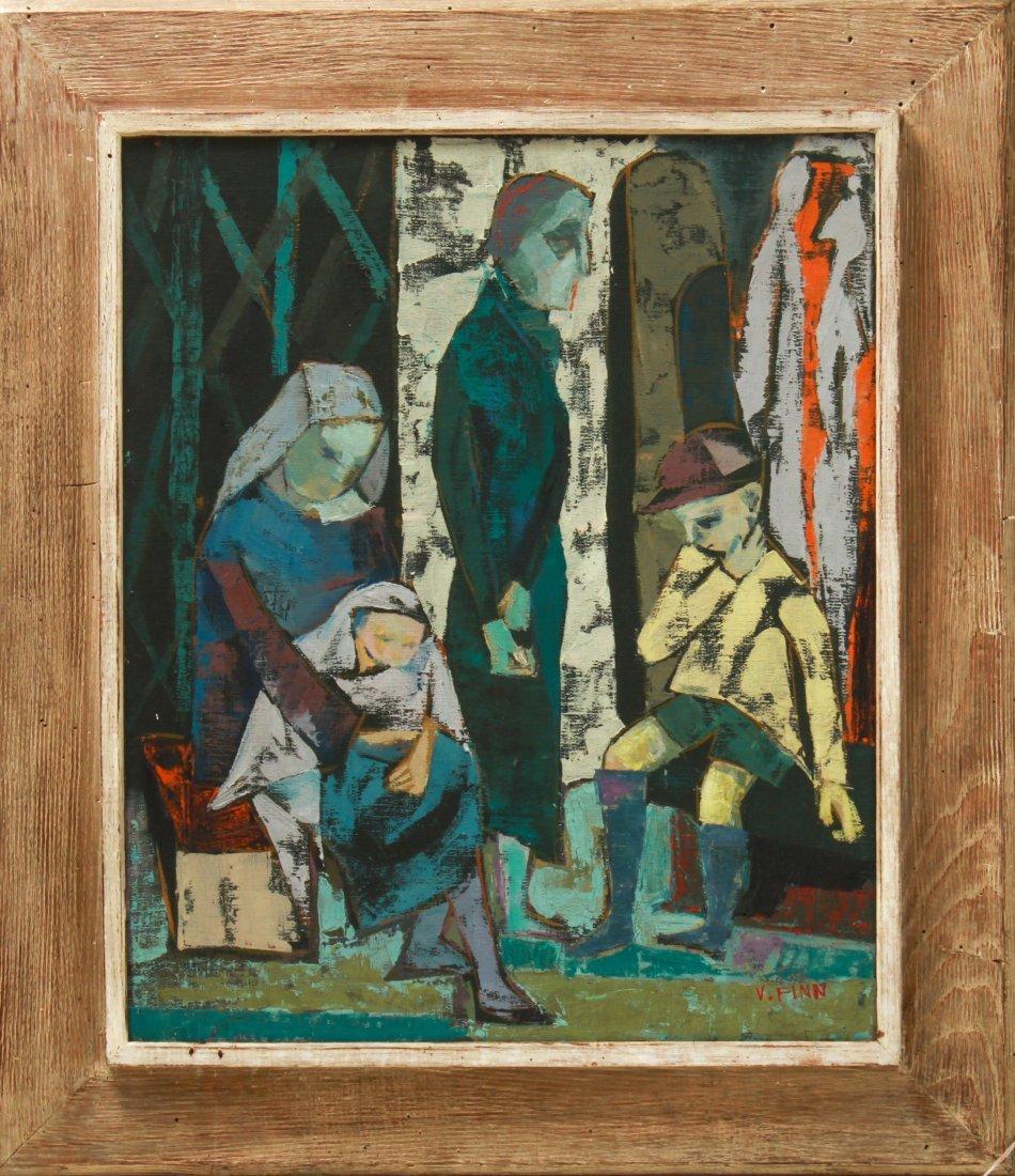 """V. Finn """"Woman & Children Figures"""" Oil on Canvas"""