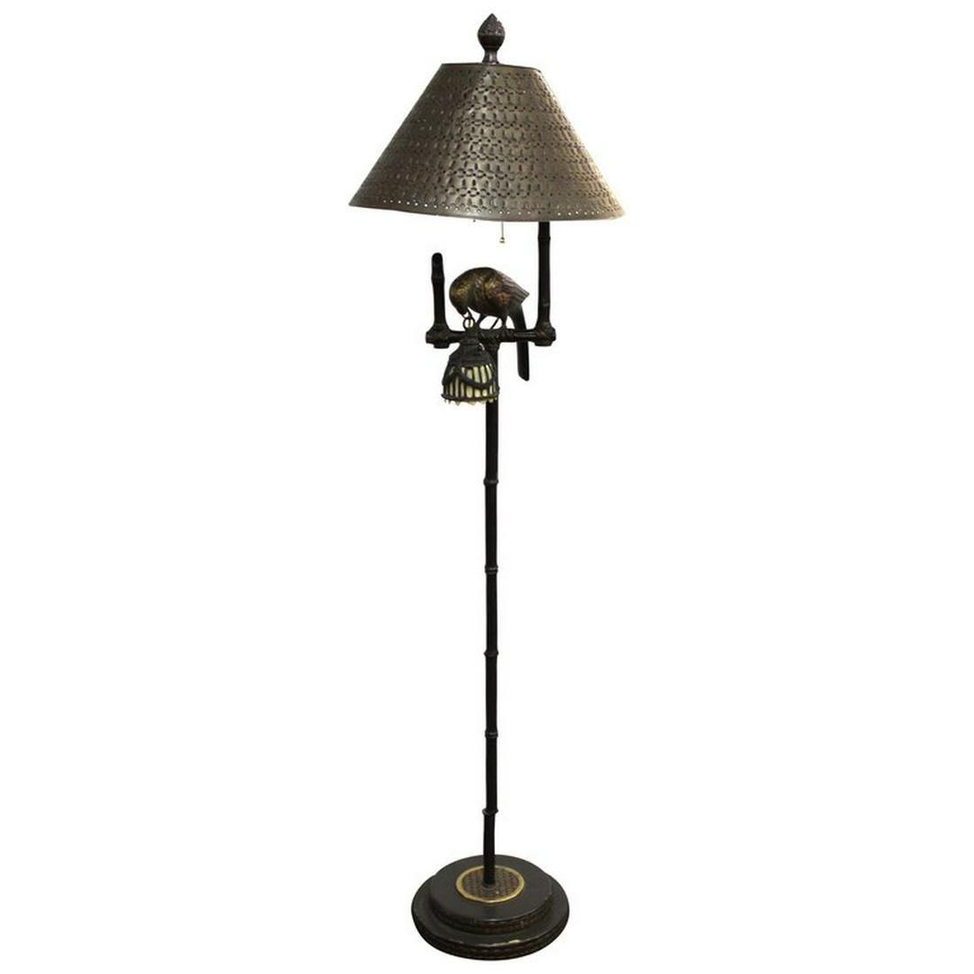 Maitland Smith Bronze Floor Lamp w Parrot