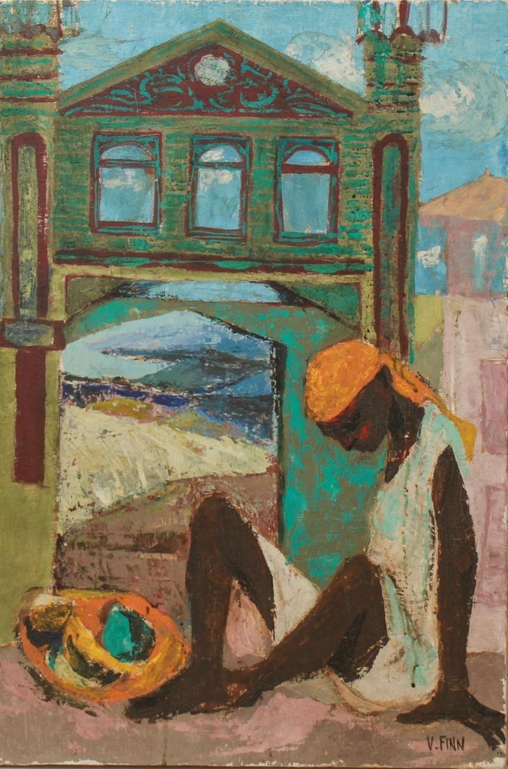 "V. Finn ""Seated Figure w architectural facade"" Oil"
