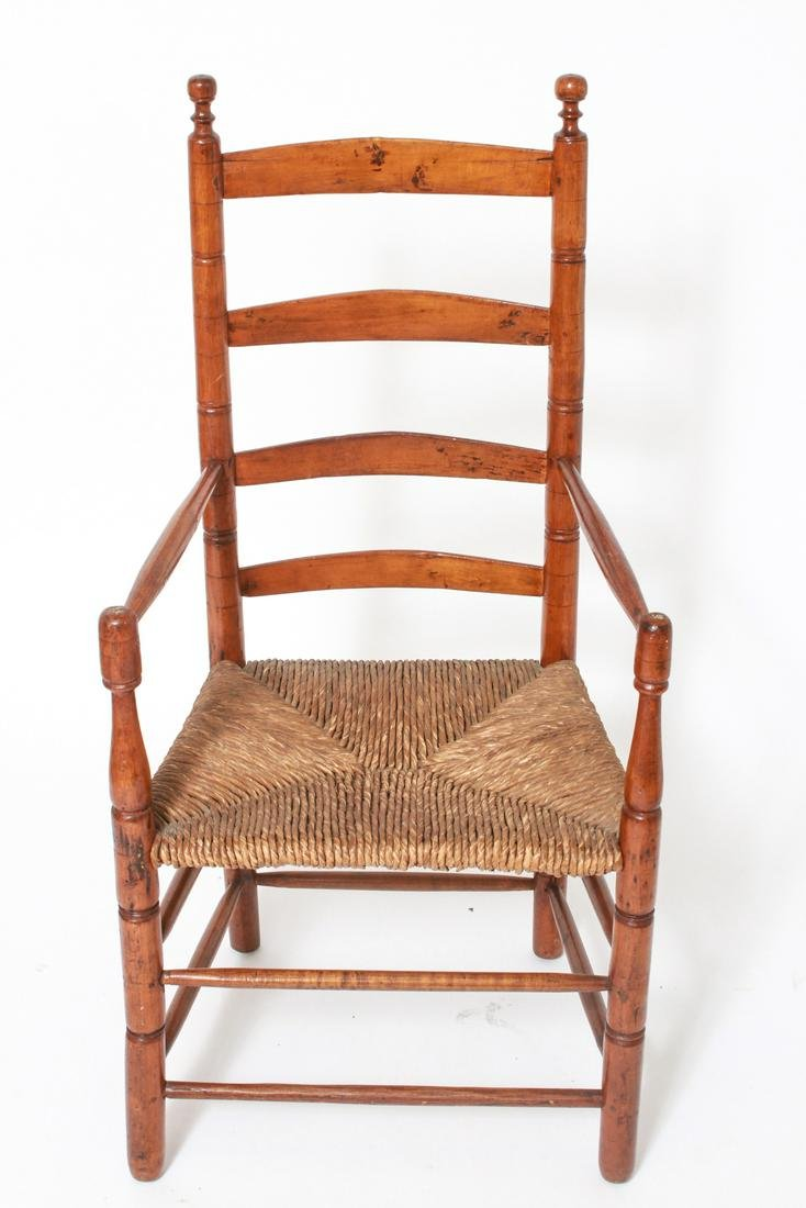 Shaker Ladderback Arm Chair w Rush Seat