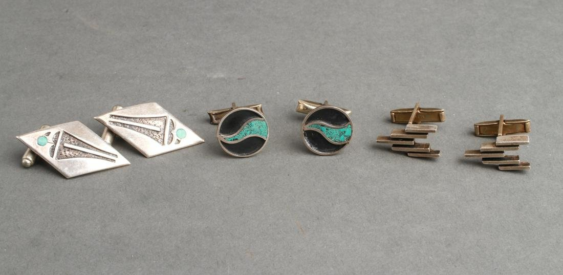 Mexican Silver Cufflinks, 3 Pairs