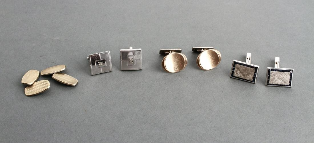 Art Deco Gilt-Silver Cufflinks & Others, 4 Pairs