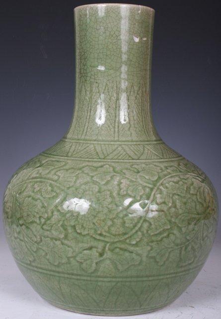 4: 19th C. Chinese Celadon Glaze Porcelain Vase