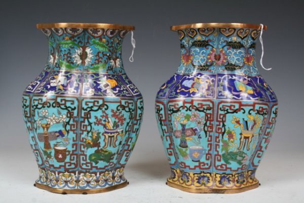 6: 19th C Chinese Pair of Cloisonne Vases