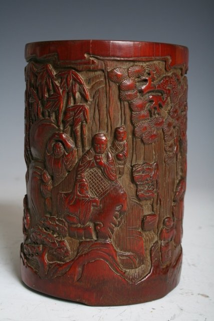 9: Chinese Carved Bamboo Brush Pot