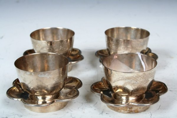 16: 19th C Chinese Silver Cups and Saucers