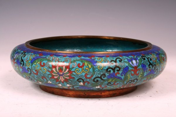 17: 19th C Chinese Cloissone Large Bowl