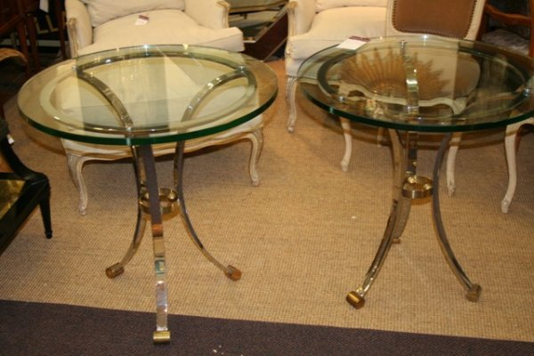 246: Pair of Jansen Glass/Chrome Tables