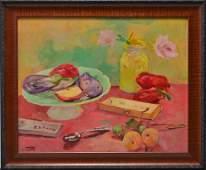 Marcos Castillo Still Life with Fruit Oil on Board