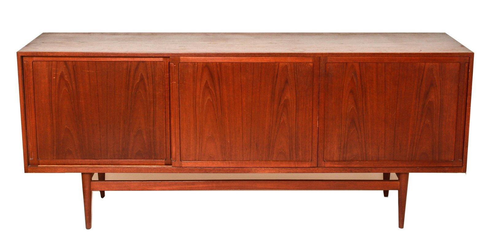 Danish Modern Sliding Door Sideboard / Credenza