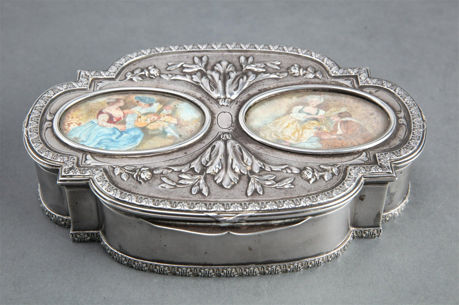 French Silver Vanity Box w Hand-Painted Scenes