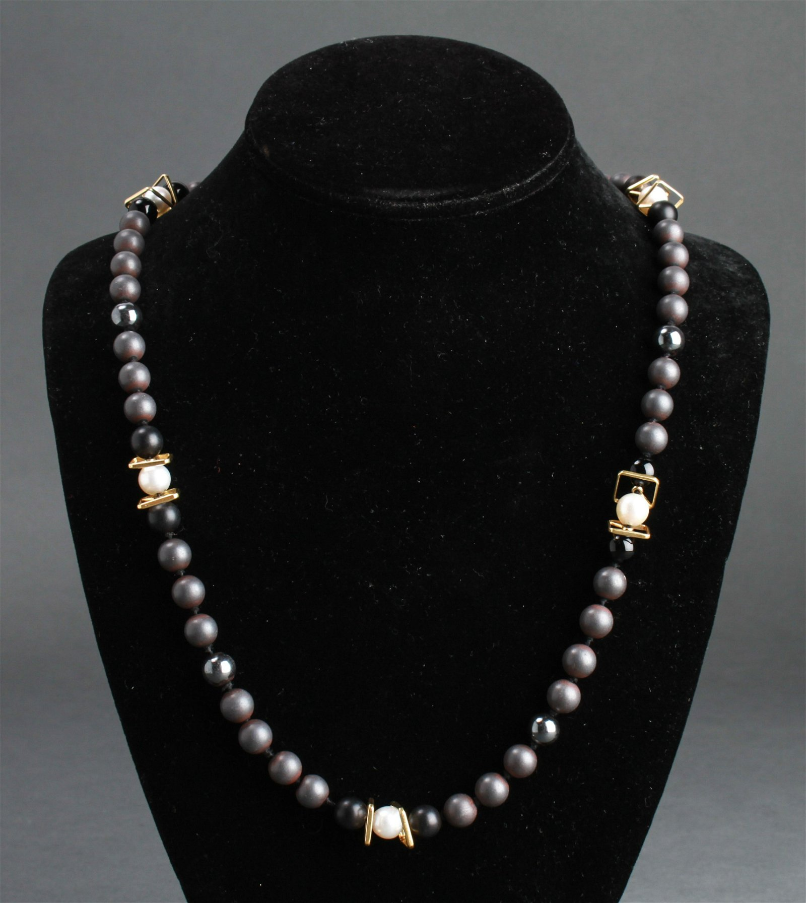 18K Gold Pearls Hematite & Onyx Beads Necklace