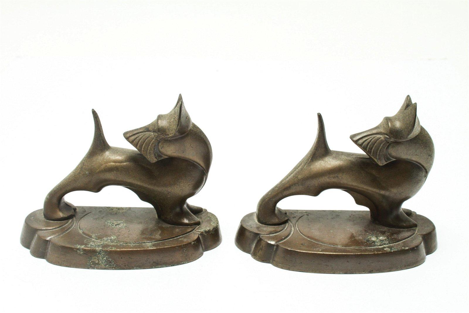 Art Deco Scottish Terrier Cast Metal Bookends, Pr