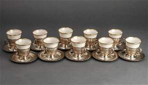 Whiting  Co Silver  Lenox Demitasse Cups Set 10