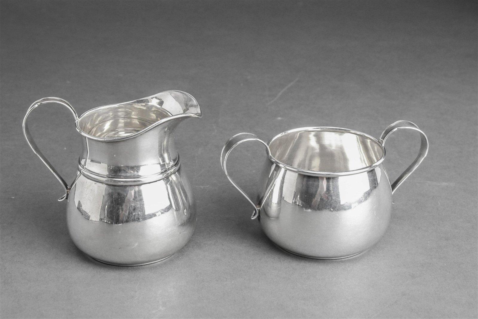 Webster Silver Sugar Bowl & Cream Pitcher Set 2