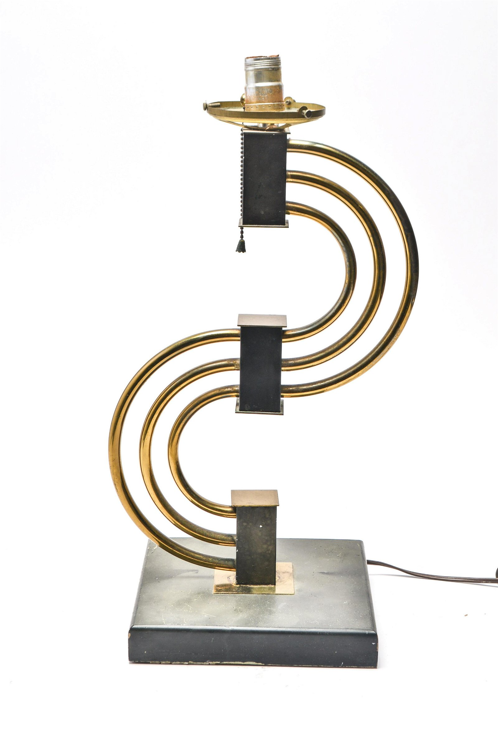 Mid-Century Modern S-Curve Brass Table Lamp