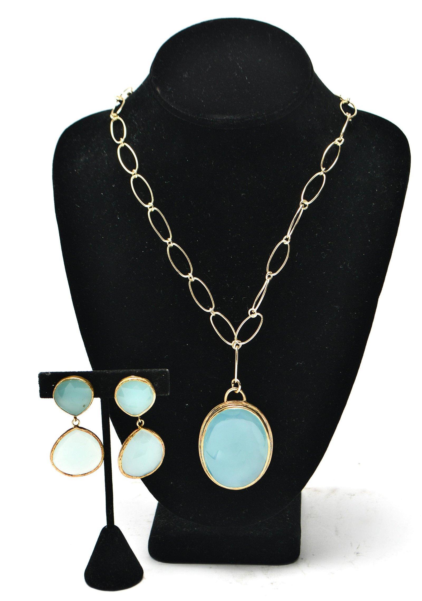 Silver Gilt & Chrysoprase Earrings & Necklace