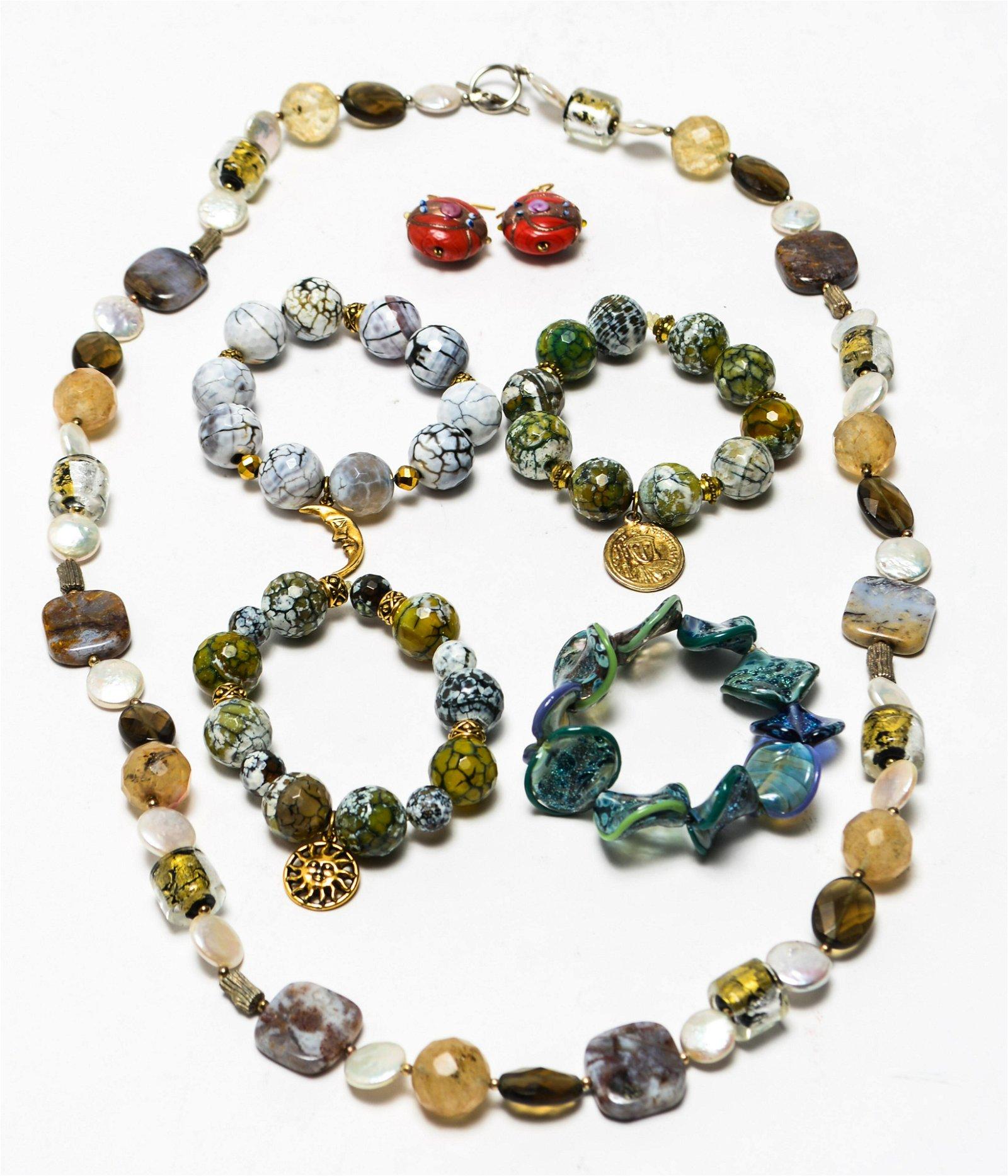 Hardstone MOP & Glass Bracelets Necklace Earrings