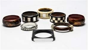 Wood & Metal Bangles w MOP & Rhinestones