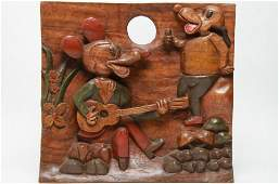 Carved Wood After Mickey Mouse Folk Art Plaque