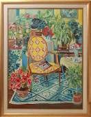 Claude Interior w Fauteuil Chair Oil on Canvas